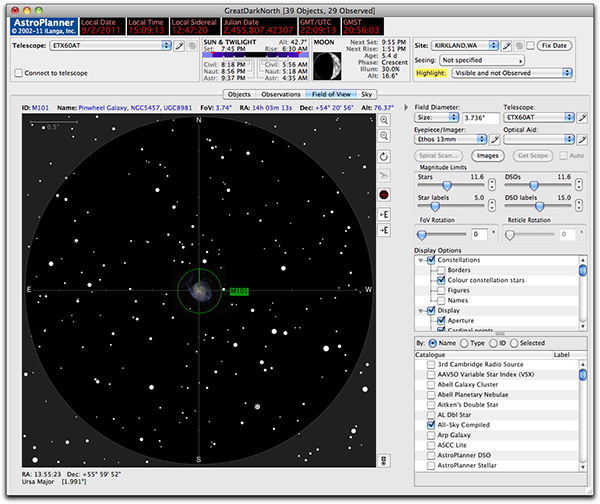 AstroPlanner field of view